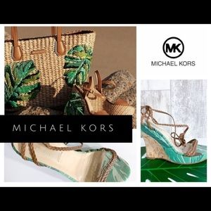 Michael Kors wedge heel sandal 6 palm tree design